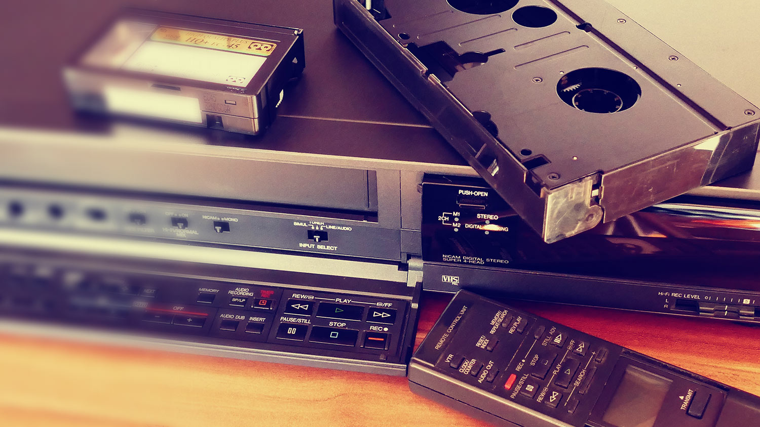 VHS Player with Tapes and Remote